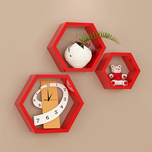 3 griglie esagonali mensole rosse, in legno, soggiorno tv parete decorativo montaggio a parete montaggio a parete (30 cm, 24 cm, 16 cm)
