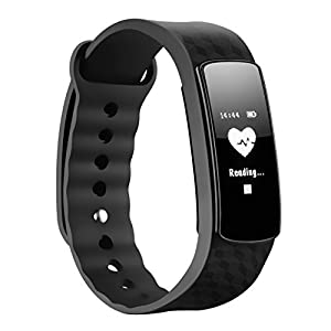 Fitness Tracker, Mpow Heart Rate Monitor Smart Fitness Bracelets Activity Pedometer Wristband Sleep Tracker Touch Screen Waterproof Smartwatch for Android and iOS Smart Phones Such as iPhone 7/7 Plus/6s/6/6 Plus/5/5S/SE, Huawei Mate 7/P9, LG, Sony,Black