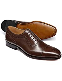 Chocolate Goodyear Welted Oxford Brogue Leather Sole Shoe by Charles Tyrwhitt