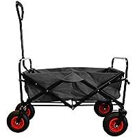 MAXOfit® Bollerwagen in schwarz, Robuster, Faltbarer Handwagen mit Luftbereifung