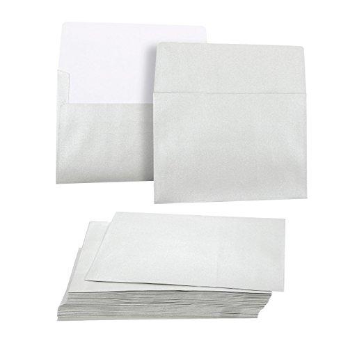 50Stück Metallic Silber A7Umschläge für 5x 7Grußkarten und Einladung Ankündigungen-Value Pack quadratisch Klappe Briefumschläge-13,3x 18,4cm-50Zählen