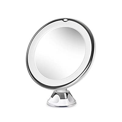 Circular LED Make Up Magnifying Mirror | 360° rotation | Suction Cup Base | M&W X10 Magnification New
