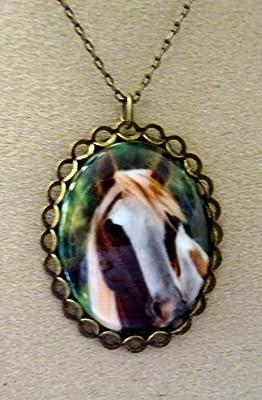 pendentif camée porcelaine cheval mon ami