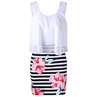 Gaddrt Womens Fashion Casual Floral Striped Print Tight O-Neck Chiffon Mini Tank Dress (White, S)