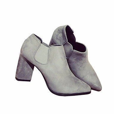 Stivali delle donne Inverno Mary Jane PU Cuoio casuale Wedge Heel Feather Gray