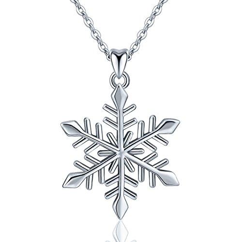 Eudora Schneeflocke Anhänger Halskette für Frauen 925 Sterling -