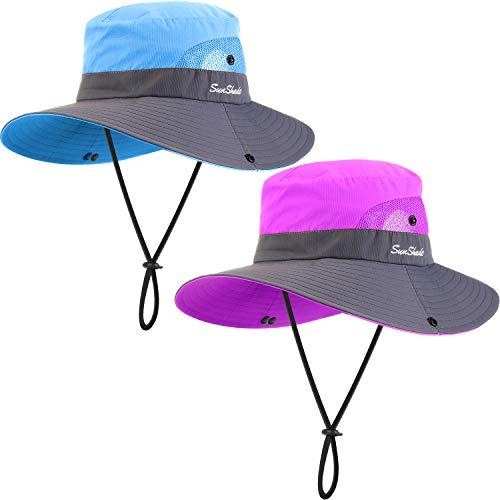 Geyoga 2 Packungen Sonnenschutz UV Hut Mesh Breiter Krempe Frauen Sonnenhut Outdoor Faltbarer Strand Wandern Angeln Sommer Hut (Lila, Blau)