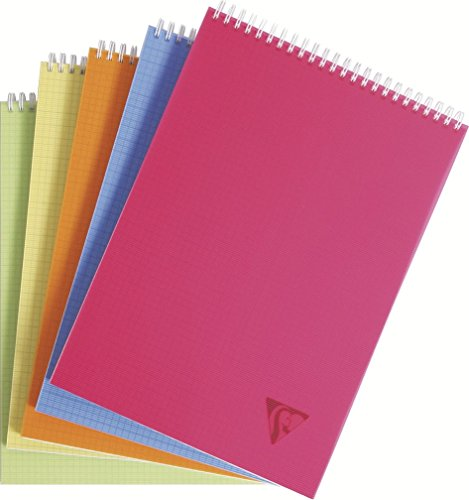 Clairefontaine 22903203 - Libreta escolar cuadriculada (espiral en la parte superior, A4, 80 hojas), varios colores