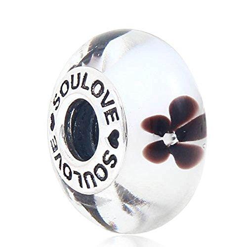 """Soulbead ciondolo a forma di perla, in vetro di murano con interno in argento 925, con logo """"soulove"""" e decorazione floreale, per bracciali compatibili brown flower charm"""