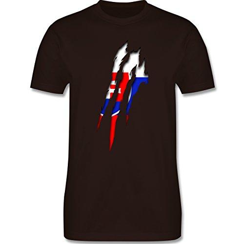 Länder - Slowakei Krallenspuren - Herren Premium T-Shirt Braun