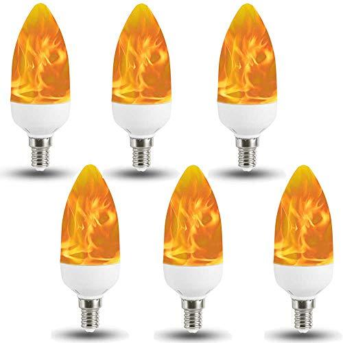 LED Flammen Glühbirne E14, Auccy 3W Flammeneffekt Lamp Flamme Effect Birne 2 Modi Flackernde Glühlampe Flackerlicht Flacker-Birnen Außenleuchte Feuer Leuchtmittel Dekorative ()