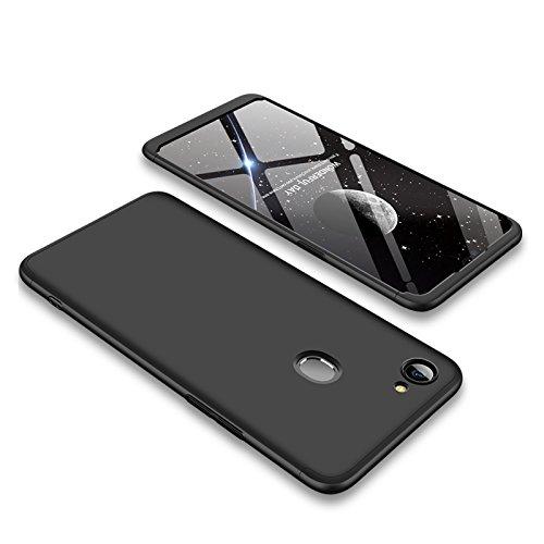PAIPAIGUAN Oppo F7 Hülle Oppo F7 Handyhülle 3 in 1 Ultra Dünner PC Harte Schutzhülle 360 Grad Hülle + Panzerglas für Oppo F7 Komplett Hülle Fullbody Case Cover - Schwarz