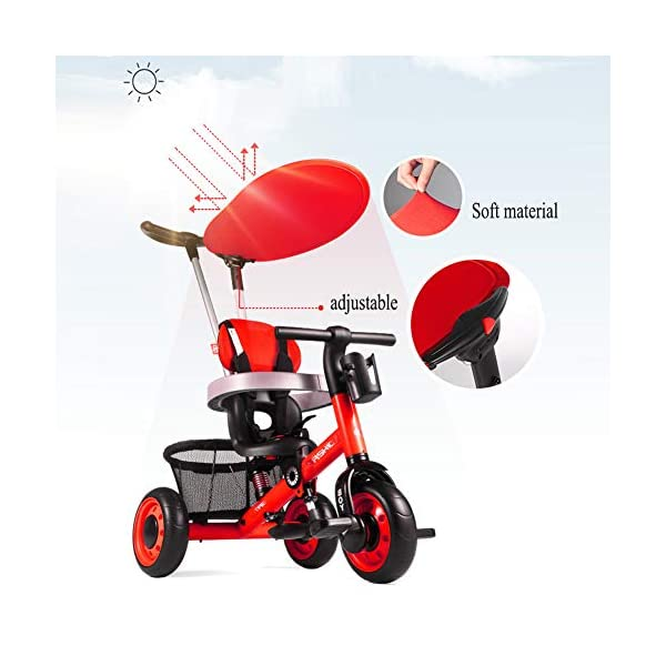 GSDZSY - Deformable Kids Tricycle Baby 3 Wheel Bike 4 In1, With Removable Push Handle Bar And Adjustable Awning,With Frame Shock Absorber,1-3 Years Old,A GSDZSY ❀ Material: high carbon steel + ABS + EVA wheel ❀ Features: The push rod can be adjusted to three heights, suitable for people of different heights; the seat can be adjusted, the adjustable umbrella can be used for different weathers, the bracket is equipped with a shock absorber, and the shock absorption effect is better. ❀ Performance: high carbon steel frame, stronger and stronger bearing capacity; EVA wheel is non-slip and wear resistant, suitable for all kinds of road conditions, good shock absorption capacity, front wheel with clutch device, safer and more reliable 4