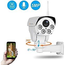 Jennov 5MP PTZ IP Kamera Ultra HD Überwachungskamera 260° schwenkbar 60° neigbar 4X Fach optischem Zoom H.264++ IP66 wasserdicht mit Einweg-Audio Mikrofon Bewegungserkennung 32G Karte APP Fernzugriff...