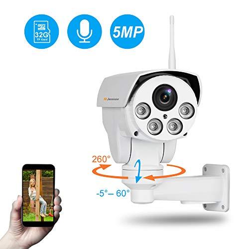 Jennov 5MP PTZ IP Kamera Ultra HD Überwachungskamera 260° schwenkbar 60° neigbar 4X Fach optischem Zoom H.264++ IP66 wasserdicht mit Einweg-Audio Mikrofon Bewegungserkennung 32G Karte APP Fernzugriff... Super Ir-wetterfeste Kamera