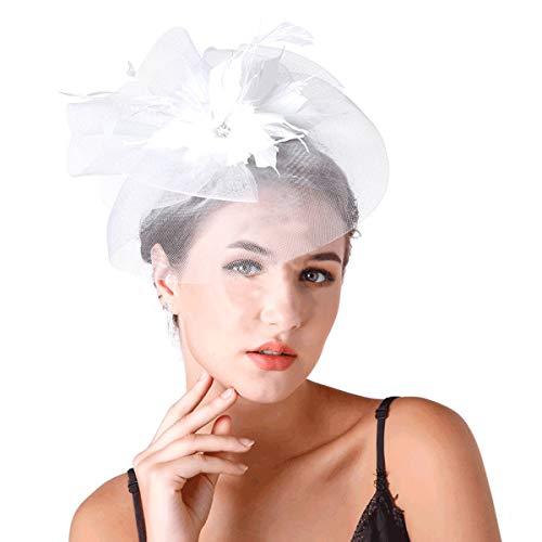 (ASKEN Frauen Hochzeit Fascinator Haar Pillbox Hut Tea Party Kirche Bankett Braut Kopfschmuck Weiß)