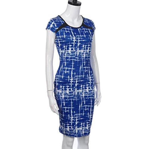Mini-robe d'été Pour Femme,Tonwalk Bandage Bodycon Party Cocktail Pencil Robe Bleu