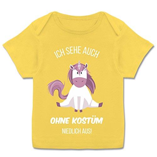 Karneval und Fasching Baby - Ich Sehe auch ohne Kostüm niedlich aus Einhorn - 56-62 (2-3 Monate) - Gelb - E110B - Kurzarm Baby-Shirt für Jungen und Mädchen (Niedliche 60 Kostüm)