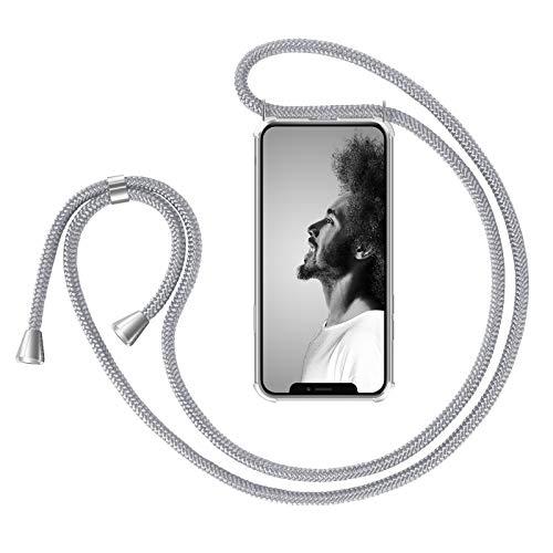 """Zhinkarts Handykette kompatibel mit Apple iPhone 11-6,1\"""" Display - Smartphone Necklace Hülle mit Band - Schnur mit Case zum umhängen in Weiß Silber"""