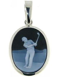 Derby Anhänger Gemme Achat Golfspieler 20 x 15 mm Kamee Sterling-Silber 925 - 23476