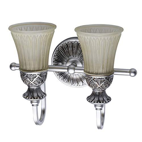 Applique da parete lussuoso in poliresina colore argento patinato vetro bianco in stile vintage luce soffusa e27 1x60w - escl