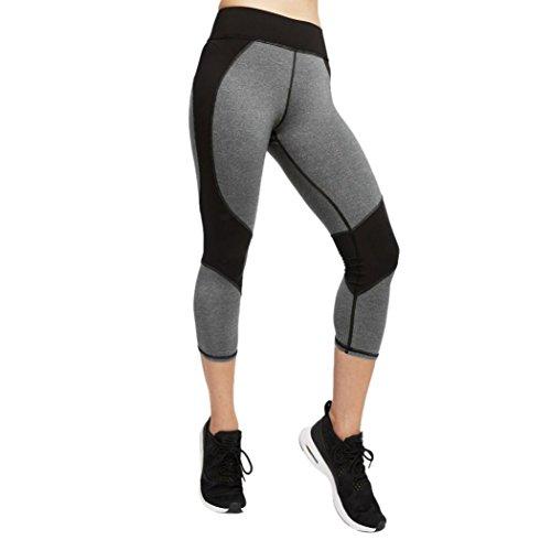 Yoga Hosen Damen TUDUZ Frauen Skinny Leggings Patchwork Yoga Leggings Fitness Sport Stretchhose (Grau, S) Radfahren Strumpfhosen Weiß