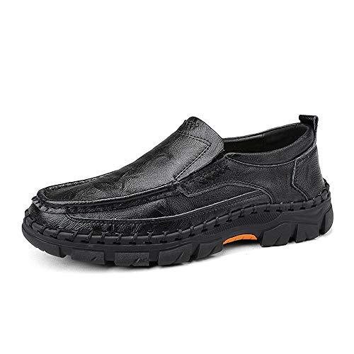 Jingkeke Herren Slip-on gefüttert Work Loafers Schuhe for Herren Retro Walking Freizeitschuhe Echtes Leder Handarbeit Nähen Gummi Verschleißfeste Laufsohle Ins Auge fallend Mode -