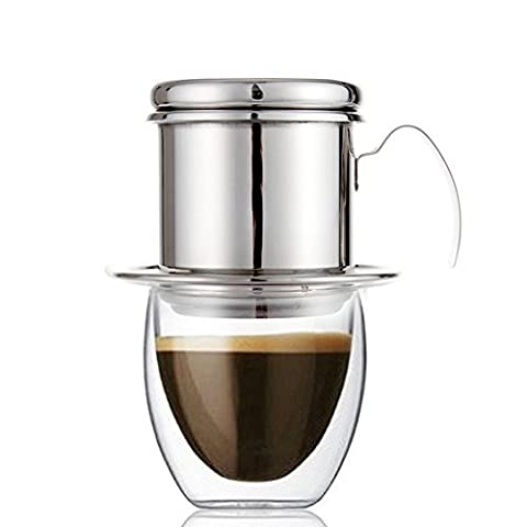 Stainless Steel Vietnam Coffee Maker, Coffee Phin Filter Infuser - Portable Paperless Reusable Single Serve for Home Kitchen Office Outdoor Use