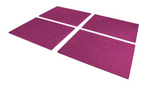 FILU Platzsets aus Filz 4er-Pack Pink eckig (Farbe und Form wählbar) 30 x 41 cm – Tischset für drinnen und draußen, abwaschbar und...