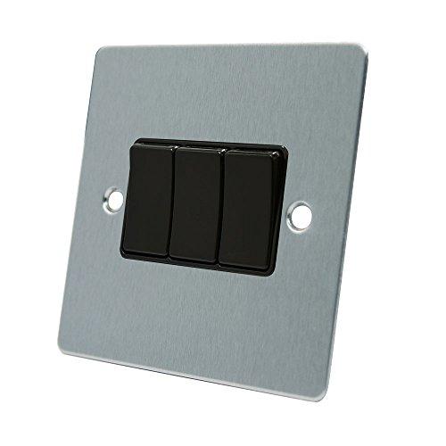 AET FSC3GSWIBL 10 A A 2 Vie e 3 pulsanti, colore: cromo satinato con Interruttore con triplo inserto interruttori A bilanciere, in plastica, colore: nero