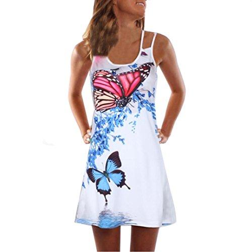 VEMOW Sommer Elegante Damen Frauen Lose Vintage Sleeveless 3D Blumendruck Bohe Casual Täglichen Party Strand Urlaub Tank Short Mini Kleid(Weiß 7, EU-40/CN-L)