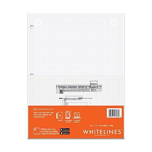Whitelines Engineering Computation Pad 8.5'X11' 80 Sheets-Grey
