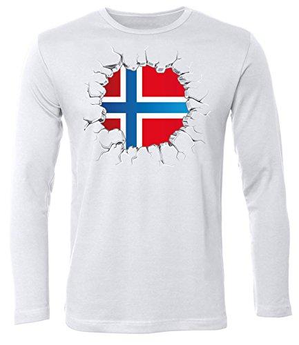 Fussball Norwegen 5766 Fanshirt Fan Shirt Tshirt Fanartikel Artikel Männer Herren T-Shirts Longsleeve Langarm Weiss S (Norwegen Fußball Trikot)