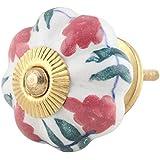 IndianShelf Handmade Ceramic Royal Furniture Knobs Cupboard Pulls Wardrobe Handles(Pink, 1.75 Inches)-Pack of 2