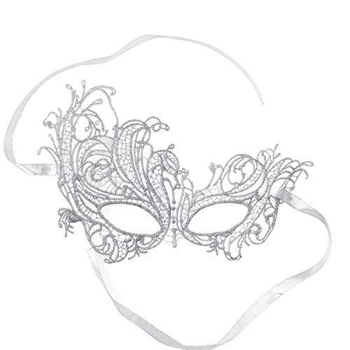 RXBC2011 Halloween Phoenix Maske Halbe Gesichtsmaske Phoenix Spitze Höhlen Augenmaske Party Kostüm Zubehör Silber Band