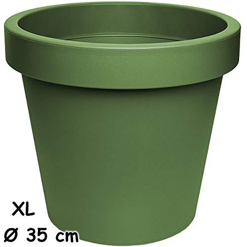alles-meine.de GmbH Design - XL - großer Blumentopf / Pflanzkübel / Pflanzschale - Ø 35 cm - 19 Liter - grün - dunkelgrün Oliv - rund - Gross - Kunststoffkübel - Übertopf Pflanzg..