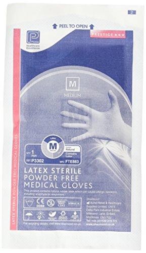 Premier pmp3302Latex PF steril Handschuh Mediu M (Paar) (50Stück) (Steril Latex Verpackt)