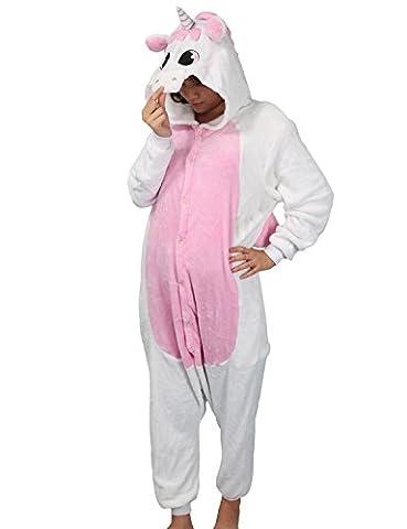 Adulte Kigurumi Unisexe Anime Animal Costume Cosplay Combinaison Pyjama ou Déguisement - Licorne rose Taille M