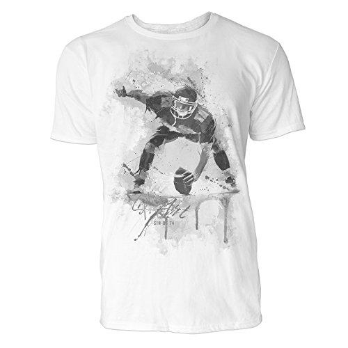 American Football Spieler Sinus Art Herren T Shirt (Schwarz Weiss) Sportshirt Baumwolle