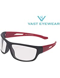 Vast UV Protected Sport Unisex Sunglasses (PREMIUM_NT_BLACK_RED_CLEAR_C3|60|Transparent)