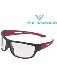 Vast UV Protected Sport Unisex Sunglasses (PREMIUM_NT_BLACK_RED_CLEAR_C3 60 Transparent)