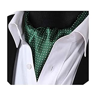 BIYINI Men's Polka Dot Ascot Jacquard Woven Cravat Tie Green/White