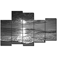 DekoArte - Cuadro moderno en lienzo paisaje playa blanco y negro 150x100cm