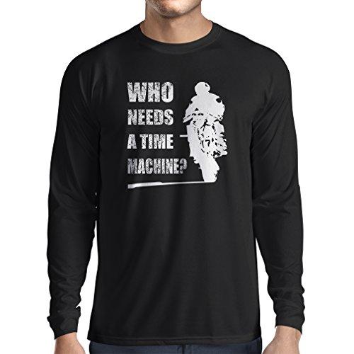lepni.me T-Shirt Manica Lunga da Uomo Abbigliamento Moto (Medium Nero Multicolore)