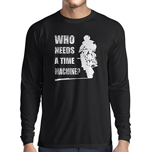 lepni.me T-Shirt Manica Lunga da Uomo Abbigliamento Moto (X-Large Nero