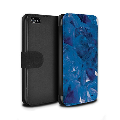 Stuff4 Coque/Etui/Housse Cuir PU Case/Cover pour Apple iPhone 8 / Février/Améthyste Design / Pierre/Gemme Collection Septembre/Saphir