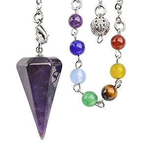JOVIVI Edelstein Pendel Chakra Hexagon Spitze Pendel Pendulum Anhänger mit Kette 7 Stein Healing Armband Pendel
