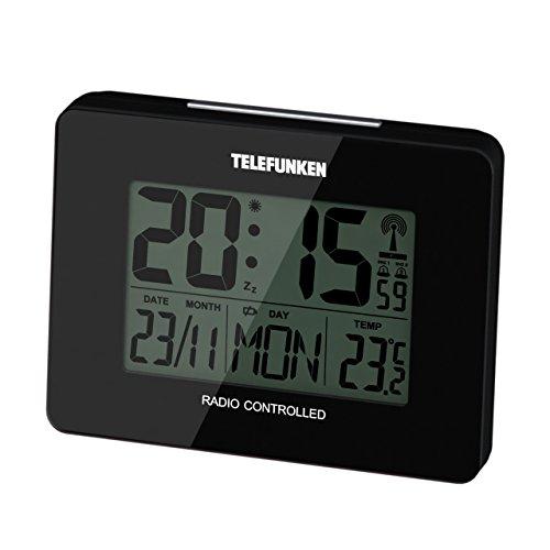 Telefunken FUD de 40(a) LCD Reloj despertador con termómetro y calendario Radio Reloj Despertador Temperatura interior día de la semana Fecha Mes 10x 3,5x 7,5cm (Negro)