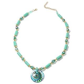TJC Murano Style Glass, Aqua Green Ceramic, Multi Colour Beads Necklace Size 26 Inch