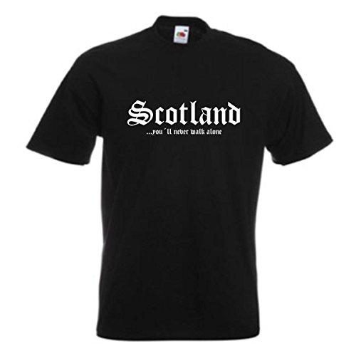 T-Shirt Schottland SCOTLAND never walk alone, bedrucktes schwarzes Fanshirt, patriotisch nationalstolz, auch große Größen S-5XL (WMS01-54a) Mehrfarbig